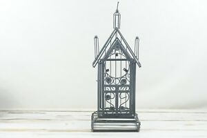 Vintage Wrought Iron Candle Holder Table Top Or Garden Decor