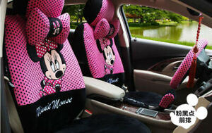 2019 New Pink And Black Cartoon Minnie Mickey Car Seat Cover Seat Covers 1 Set