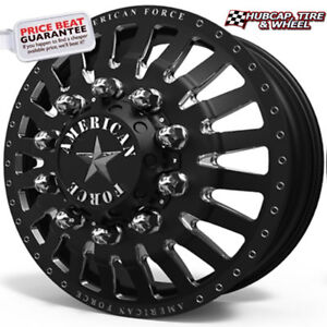 American Force Doom 22 5 x8 25 Black Dually 4 forged 2 Steel Wheels