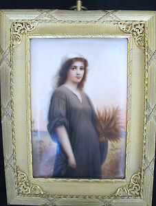 German Porcelain Plaque Ruth Bronze Frame Signed 1850 1899 235