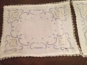 Vtg Needle Lace And Embroidered Boudoir Pillows Lovely