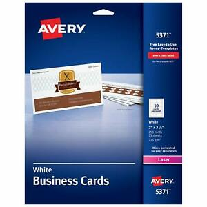 Avery Printable Business Cards Laser Printers 250 Cards 2 X 3 5 5371