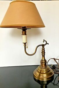 Vintage French Single Bouillotte Table Lamp Brass Pull Chain