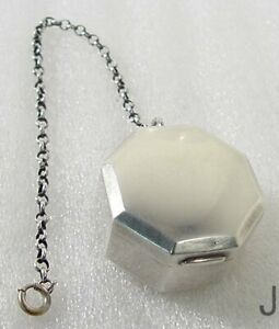 Vintage Sterling Silver Octagonal Chatelain Chained Pill Box Compact Blackinton