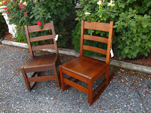 Antique Pair Of Stickley Brothers Rocking Chairs Inv2043