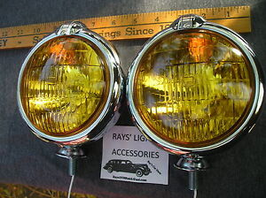New Small Of 6 Volt Amber Vintage Style Fog Lights With Fog Cap On Lights