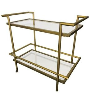 Mid Century Modern Style Brass And Chrome Rolling Bar Cart