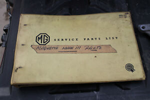 Mg Magnette Mark Iii Service Parts List Rare H