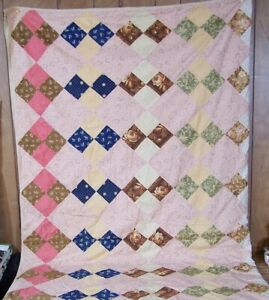 Antique Vintage Patchwork Diamonds Paisley Hand Stitched Quilt 78 X 80 Full