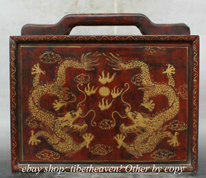 11 Old Chinese Wood Dragon Painting Portable Cabinet Storage Jewelry Chest Box