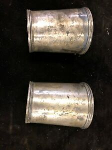 E Jaccard Co Coin Silver Julep Cup St Louis Mo Pair Lot Of 2