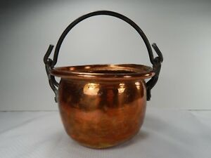 Antique Copper Small Cauldron Pot With Iron Handle Metalware