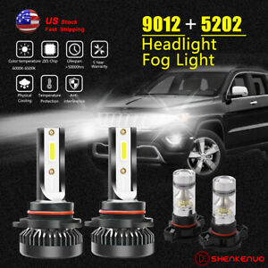 For Jeep Cherokee 2014 2015 2016 Led Headlight Fog Light Bulb 9012 5202 4pc