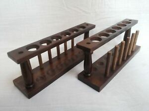 Test Tube Stand Set Of 2 Wooden 6 Hole With Drying Rack Vintage Lab Equipment