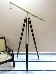 Brass Telescope With Wood Tripod Stand Vintage Nautical Decorative