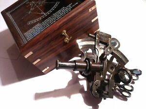 Brass Sextant German Marine Sextant 4 With Wooden Box Antique