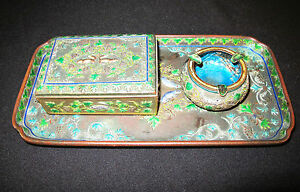 Bronze And Enamel 3 Pieces Cigarette Set Handmade Multi Color 405
