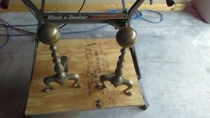 Vintage Heavy Brass Fireplace Andirons Firedogs With Cannon Ball Top Colonial