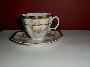 Antique Imperial H C Carlsbad Austria Tea Cup Set Fluted Black Gold Moriage