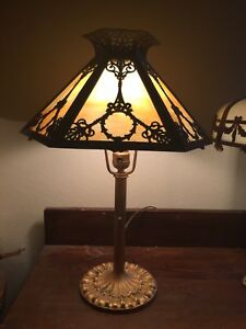 Nice Antique Table Lamp Miller Co Base Six Panel French Revival Slag Glass Shade