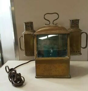 Lifeboat Oil Lamp Ship Lantern Brass Converted To Electric Two Lights Rare