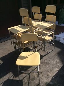 10 Vintage Heywood Wakefield Pale Yellow Adult Size Stacking Chairs Good