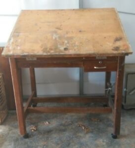 Vintage Large Rolling Industrial Drafting Table Well Made Functional