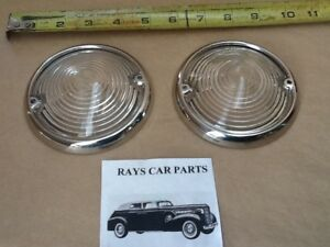 New Set Of Replacement 1953 53 Chevrolet Front Park Light Lens And Rings