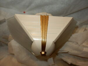 1930s Art Deco 2 Light Slip Shade Chandelier Polychrome Finish