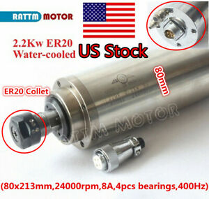 us 2 2kw Er20 Water Cooled Spindle Motor 400hz 220v 24000rpm 80mm Cnc Engraving