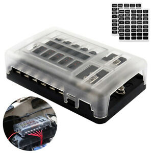 12 Way Car Truck Blade Flat Fuse Block Box Overcurrent Protection Led Indicator