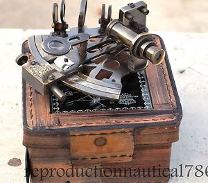 Solid Brass Sextant With Leather Box Lover Gift By Antique Warehouse India