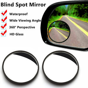 2 Round Stick On Hd Glass Rear View Blind Spot Convex Car Wide Angle Mirrors
