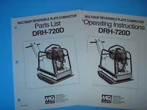 Mq Reversible Plate Compactor Drh 720d Operating Instructions Parts List 1993