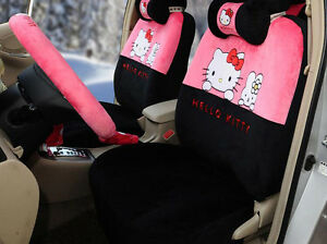 18pc Set Cartoon Plush Hello Kitty Universal Styling Car Seat Cover Seat Covers