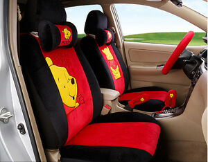 18pcs 2017 New 1set Cartoon Car Seat Cover Plush Seat Covers Car Covers Red
