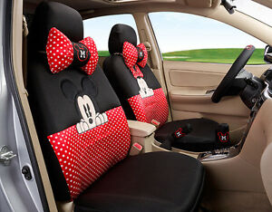 18pcs New1 Set Women Love Carton Minnie Mickey Mouse Car Seat Cover Universal