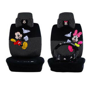 2019 Black Plush Cute Cartoon Minnie Mickey Mouse Universal Car Seat Cover 803