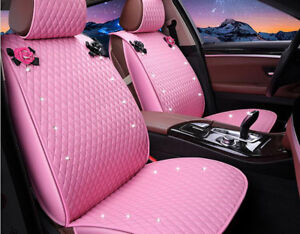 New Pu Leather Women Love Car Seat Cover Seat Cushion Front Rear Full 1 Set Pink