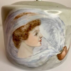 Humidor Or Biscuit Cookie Jar Hand Painted Antique Art Nouveau One Of A Kind