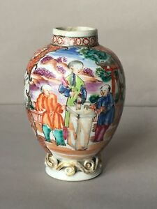 Antique 18th C Chinese Export Porcelain Tea Caddy