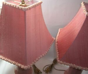 Pair Of Vintage Pink Lamps Ceramic Base Fabric Shade Sequin Floral Trim Lamp
