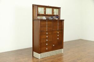 Dentist Cabinet Oak Marble Dental Antique Jewelry Or Collector 30908