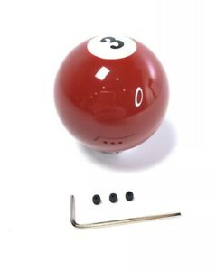 Pool Ball Gear Shift Knob Red Solids Number 3