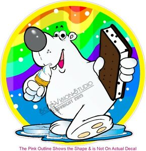 Ice Cream Polar Bear Concession Trailer Food Cart Truck Menu Sign Sticker Decal