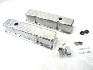 1958 86 Sbc Chevy Aluminum Ball Milled Valve Covers Tall Polished E41007