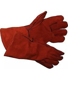 14 Inch Welding Gloves Heat Resistant Lined Leather Red Tig Welders Bbq12 Pairs