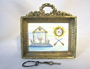 Antique Masonic Bronze And Enamel Hand Painted Signed Clock Original Key 1087