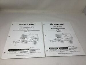 Sullair Air Compressor 185 User Manual Parts List Kubota 2 Manuals Free Ship