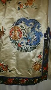 Antique Chinese Silk Robe 5 Toed Dragon Bat Longevity Symbol Embroidery Qing